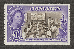 Jamaica: 1956-58 &#163;1 chocolate and violet, unissued.